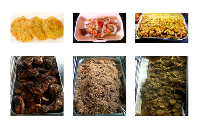jerk chicken, food trays
