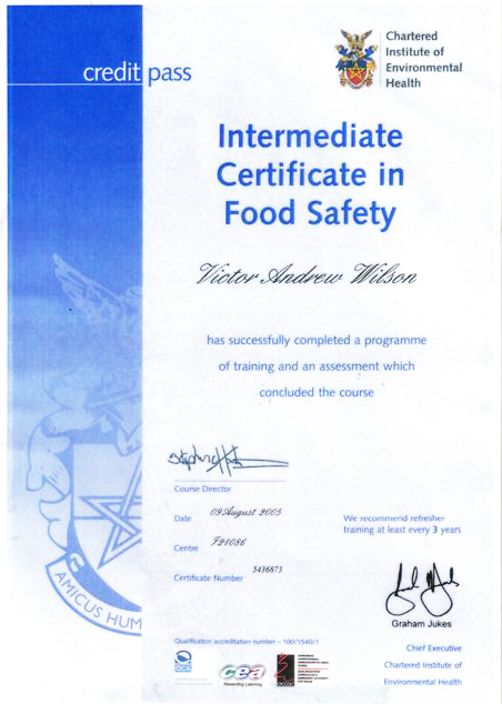 Intermediate Certificate in Food Safety